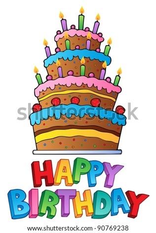Happy Birthday topic image 2 - vector illustration. - stock vector