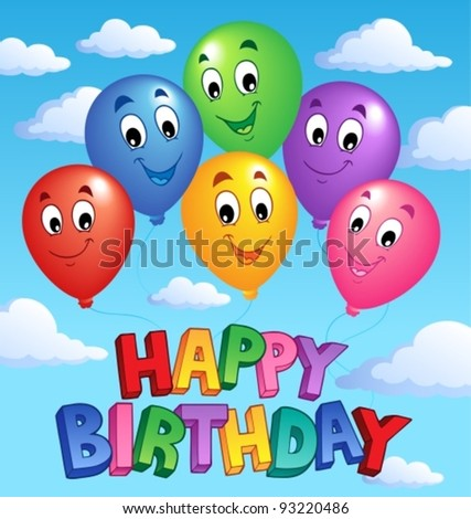 Happy Birthday topic image 3 - vector illustration. - stock vector