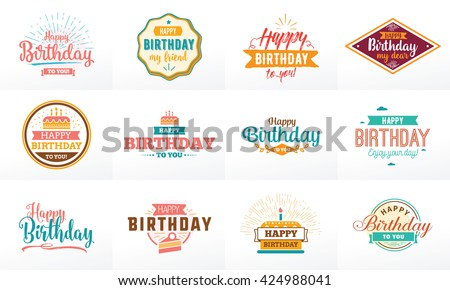 Happy Birthday typographic set. Vector design for greeting cards, print and cloths. Isolated Happy Birthday lettering. - stock vector