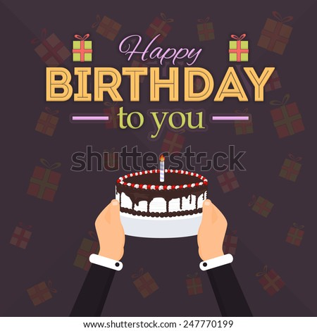 Happy Birthday Vector Announcement and Celebration Message Poster, Flyer Flat Style Hands hold Cake Gift Boxes Background Retro Design - stock vector