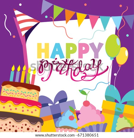 Happy birthday vector card hand drawn stock vector 671380651 happy birthday vector card hand drawn vector illustration invitation template design stopboris Gallery
