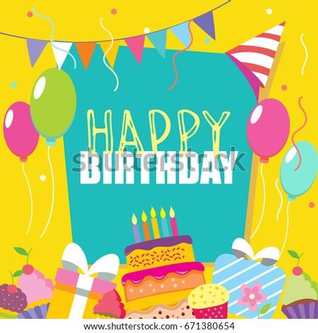 happy birthday vector card hand drawn stock vector royalty free