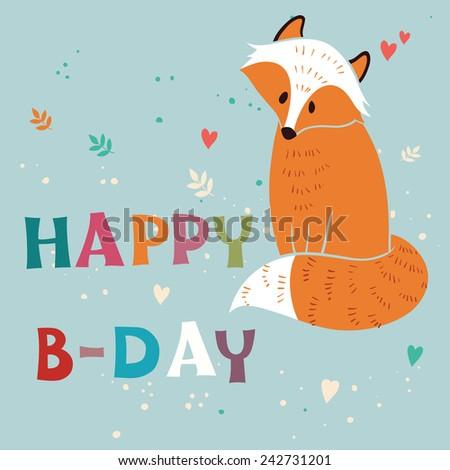 Happy Birthday vector card with foxy - stock vector