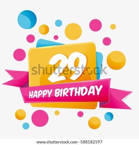 Happy birthday vector card 29 year stock vector 588182597 happy birthday vector card 29 year celebration greeting card with number happy anniversary 29 bookmarktalkfo Images