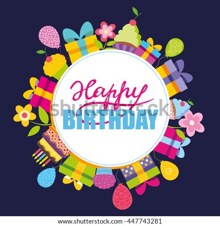 Happy birthday vector concept banner invitation stock vector happy birthday vector concept banner for invitation party illustration with present flower stopboris Images