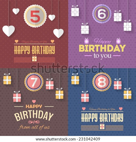 Happy Birthday Vector Design age of 5, 6, 7, 8. Announcement and Celebration Message Poster, Flyer Flat Style  - stock vector