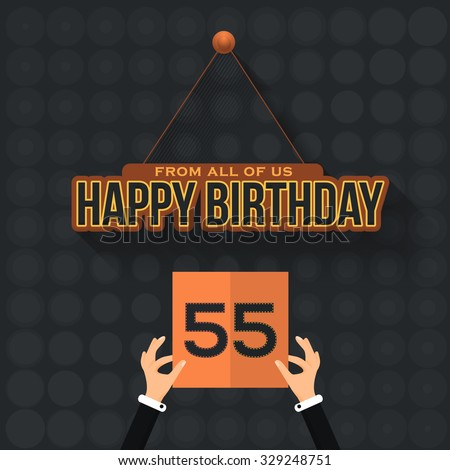 Happy Birthday Vector Design. Announcement and Celebration Message Poster, Flyer Age 55 - stock vector