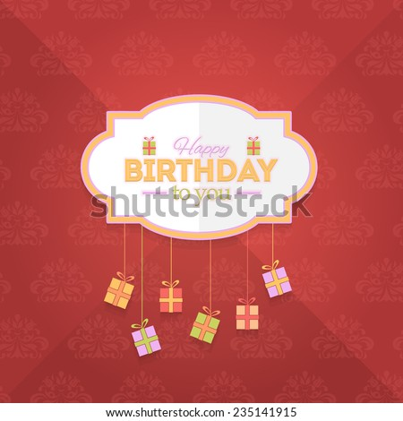 Happy Birthday Vector Design. Announcement and Celebration Message Poster, Flyer on Red Background  - stock vector