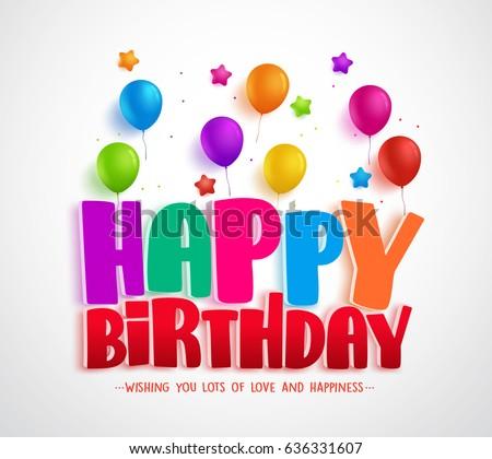 Happy Birthday Vector Greeting Card Design Stock Vector Royalty