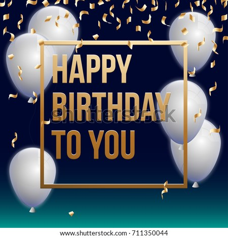 Happy Birthday Vector Illustration Golden Foil Stock