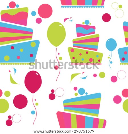 Happy Birthday vector seamless pattern , birthday cake with decorations,  - stock vector