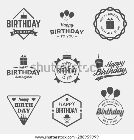 happy birthday vintage labels set. vector illustration - stock vector