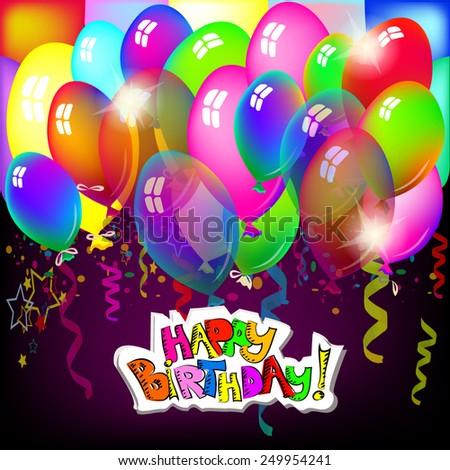 Happy Birthday with balloons. Happy Birthday Greeting Card. Vector - stock vector