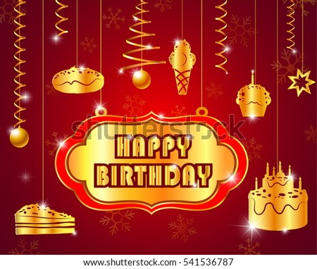 Happy birthday text glossy goldlabel decoration stock vector happy birthday with text glossy goldlabel for decoration festive season m4hsunfo