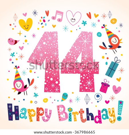 Happy Birthday 14 years kids greeting card - stock vector