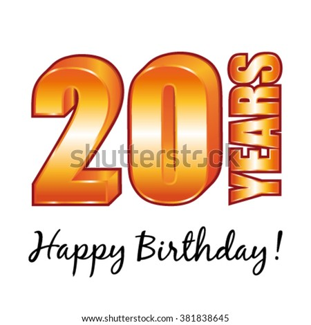 Happy birthday. 20 years old vector greeting card. - stock vector