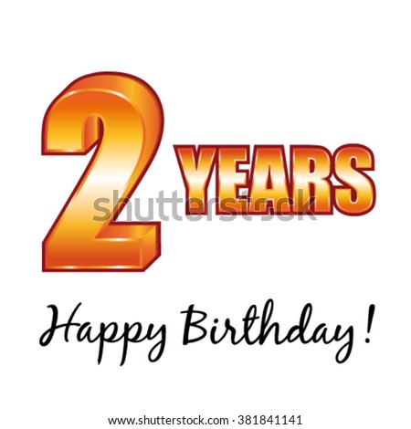 Happy birthday. 2 years old vector greeting card. - stock vector