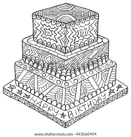 Happy Birthday Zentangle Cake Doodle Party Creative Anniversary Sketch