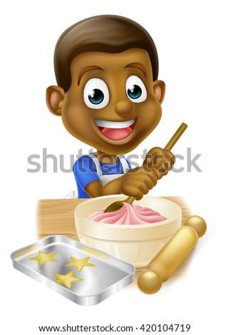 Happy black boy playing at being a baker stirring cake mix in a bowl - stock vector