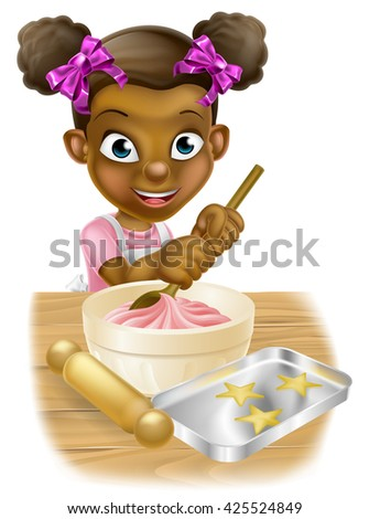 Happy black girl playing at being a baker stirring a cake mix - stock vector