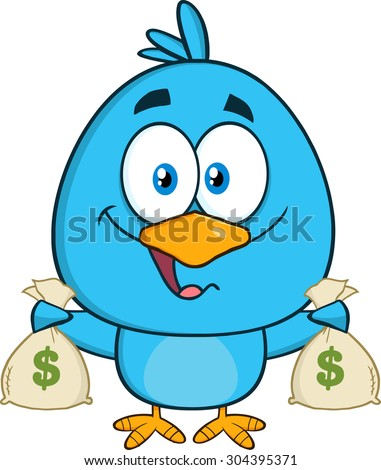 Happy Blue Bird Cartoon Character Holding A Bags Of Money. Vector Illustration Isolated On White - stock vector