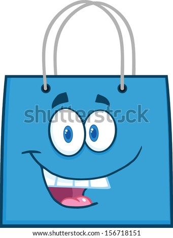 Happy Blue Shopping Bag Cartoon Mascot Character - stock vector