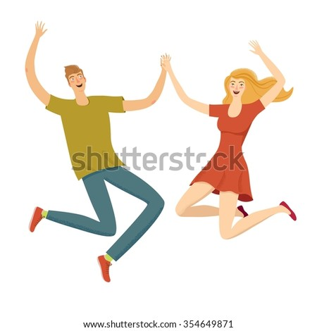Happy boy and girl jumping together. Feelings of lightness, happiness, carefree, joy,love, friendship. Cartoon illustration for your design. - stock vector