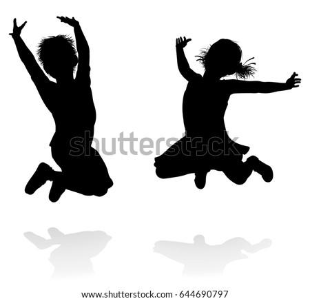 Happy Boy Girl Silhouette Kids Children Stock Vector
