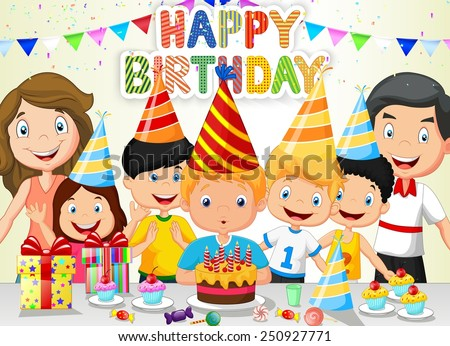 Happy boy blowing birthday candles with his family and friends - stock vector