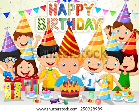 Happy boy blowing birthday candles with his friends - stock vector