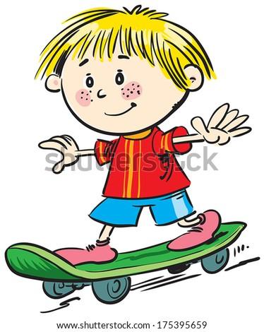 Happy boy driving skateboard on street. - stock vector