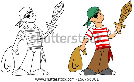 Happy boy in a pirate's costume with a wooden sword , - stock vector