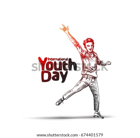 Happy boy jumping on a white background. The concept of friendship, healthy lifestyle, success. International Youth day,12 August,