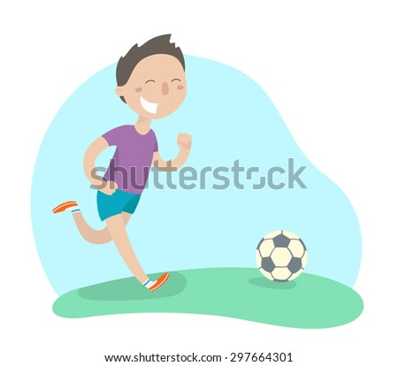 Happy boy playing football. Flat design. Vector illustration. - stock vector