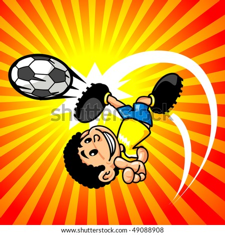 happy boy playing soccer - stock vector