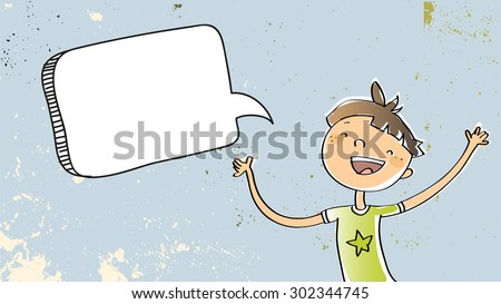Happy Boy speaking a message, with blank speech balloon. Doodle style hand drawn illustration, vector line art. Communication concept. - stock vector