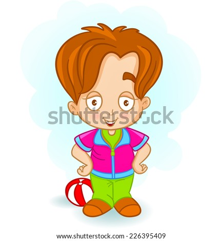 happy boy standing. cartoon illustration of a happy little boy looking at camera.  - stock vector