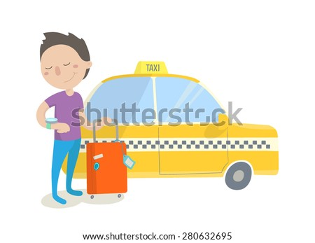 Happy boy with his luggage waiting for arrival of a taxi. Flat design. Vector illustration. - stock vector