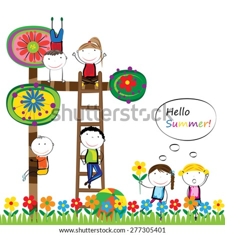 Happy boys and girls in garden with colorful tree - stock vector