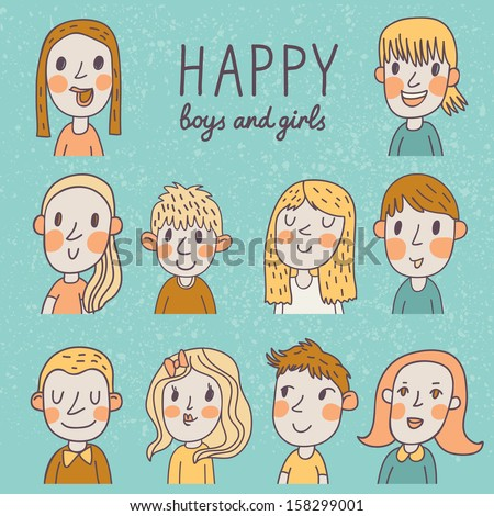 Happy boys and girls in vector set. 10 different cartoon faces in funny style.  - stock vector