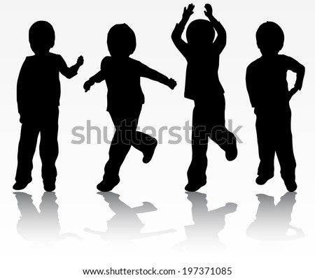 Happy boys silhouettes - stock vector