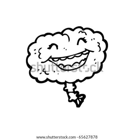 happy brain cartoon - stock vector