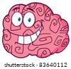 Happy Brain Cartoon Character - stock vector