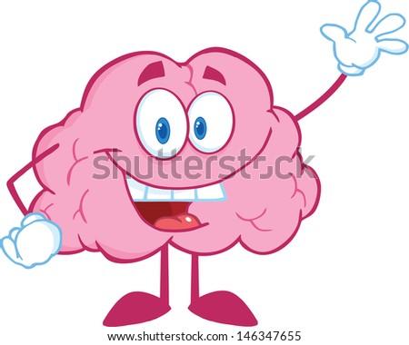 Happy Brain Cartoon Character Waving For Greeting. Vector Illustration - stock vector