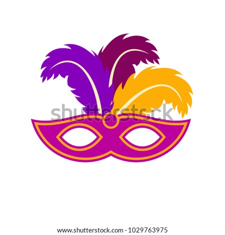 Happy Brazilian Carnival Day. purple carnival mask with colorful feathers