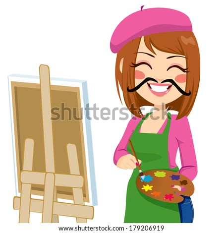 Happy brunette artist woman with funny mustache painting with colorful palette - stock vector