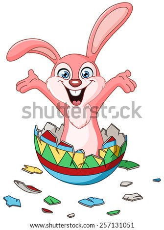 Happy bunny hatching from a colorful Easter egg - stock vector