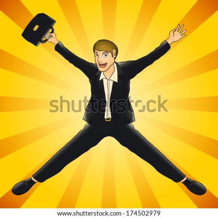 happy business man jumping on radial background - stock vector