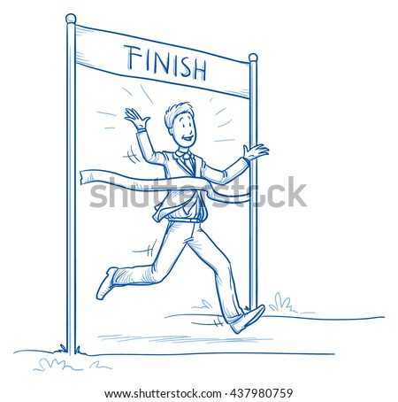 Happy business man, running, reaching the finish, concept of leader, first, best of. Hand drawn line art cartoon vector illustration.