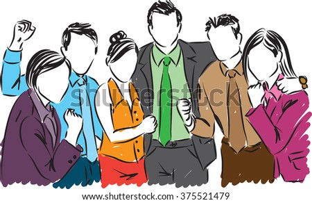 happy business people illustration - stock vector